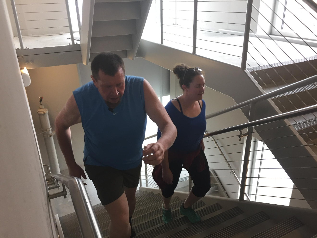 Walter Beals lost about 170 pounds and gained a girlfriend on the way to his goal of walking 20,000 floors. (WLOS staff)