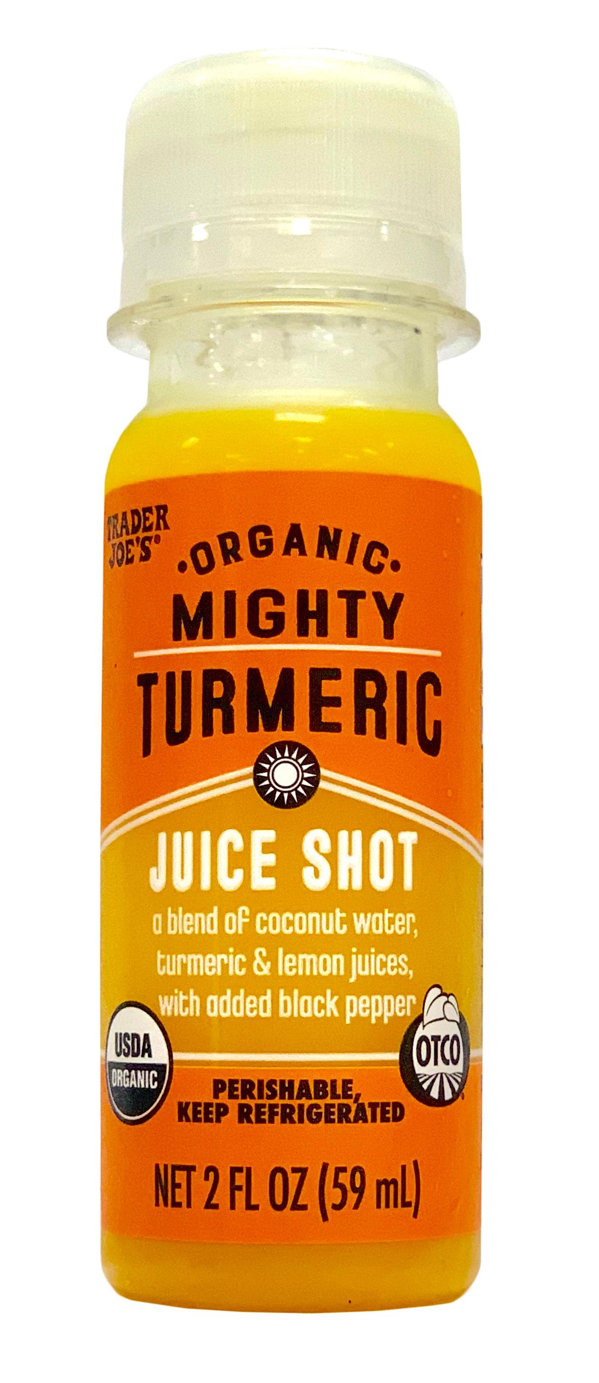 "Organic Mighty Turmeric Juice Shot. Instead of reaching for a second cup of coffee why not rally with a juice shot? Turmeric is so good for you! Find these in the refrigerated section for just $1.99!{ }On a monthly basis I rotate through three grocery stops - Costco, Walmart Pick-up, and Trader Joe's. And, you guessed it, Trader Joe's is my favorite. Do you love it too? I have classic staples there and am always finding new favorites. That's the joy things there follow the old adage ""Make new friends but keep the old"". How they smoosh so many amazing products into their few rows, I will never know, but I no doubt discover fabulous things ever time my red cart wanders through. (Image: Trader Joes)"