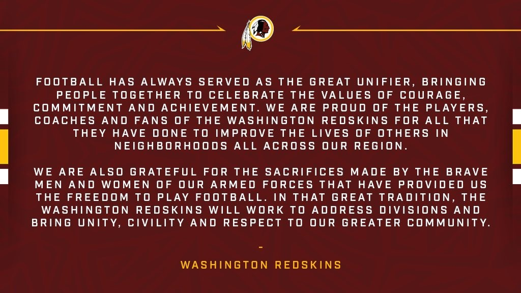The Washington Redskins released a statement on Sunday, September 24, 2017, days following President Trump's remarks calling on NFL owners to fire players for protesting the National Anthem. (Courtesy of Washington Redskins)