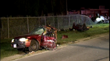 Car splits in half after being struck by wrong-way driver, two people hospitalized