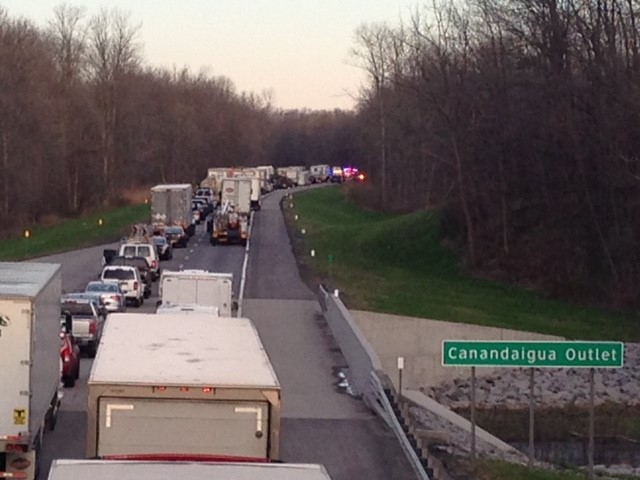 Photo I-90 westbound after a crash slowed traffic to a crawl Monday morning. (Photo: John McClintock)