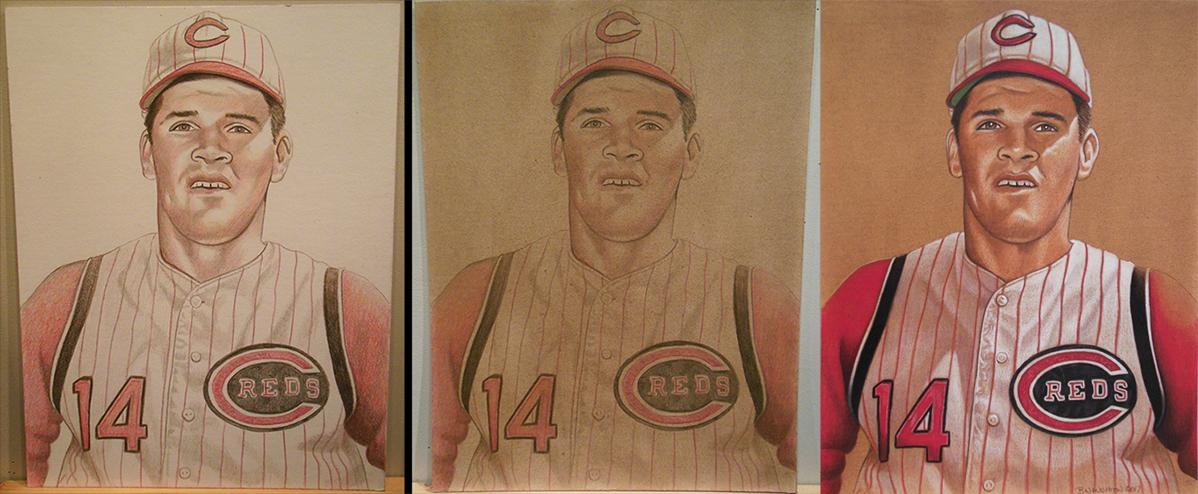 This piece shows Pete Rose art from the first sketch to the finished artwork. All of Naughton's art is created with color pencils and layers of acrylic wash. / Image: Brent Naughton // Published: 4.3.18