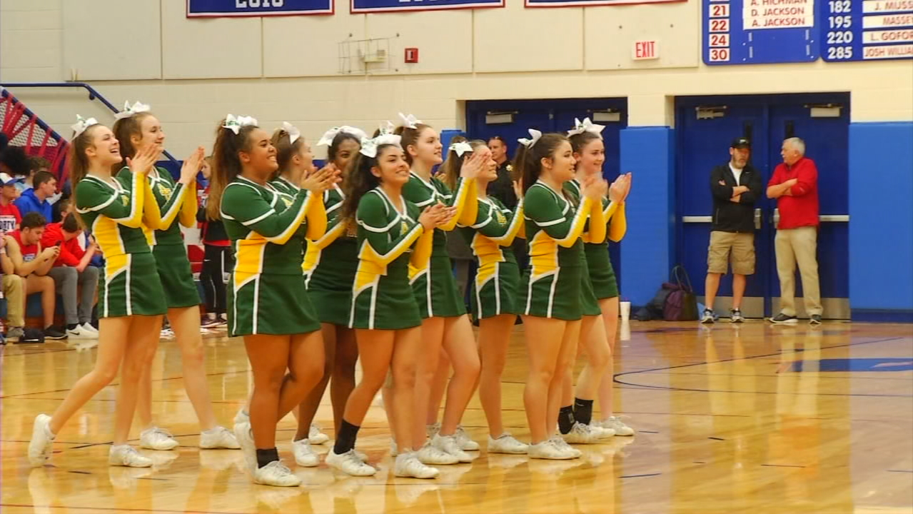 "The Rockets cheerleaders recently competed in and won the North Carolina Cheer Coaches Association state championship in ""Small Varsity Non-Tumble Division 1."" (Photo credit: WLOS Staff)"