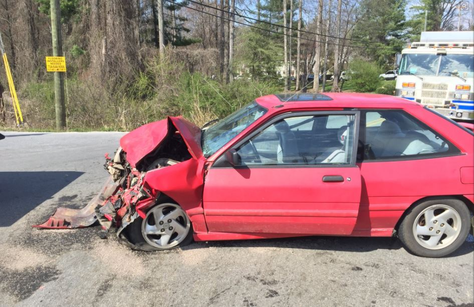 <p>Three people were taken to the hospital Tuesday after two crashes within about 200 yards of each other in the Bradley Branch area of Arden. (Photo credit: WLOS staff)</p>
