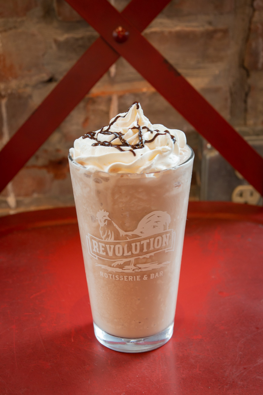 Mudslide Boozy Shake: chocolate ganache ice cream, vodka, Kahlua, whipped cream, and chocolate drizzle / Image: Elizabeth A. Lowry{ }// Published: 10.6.20