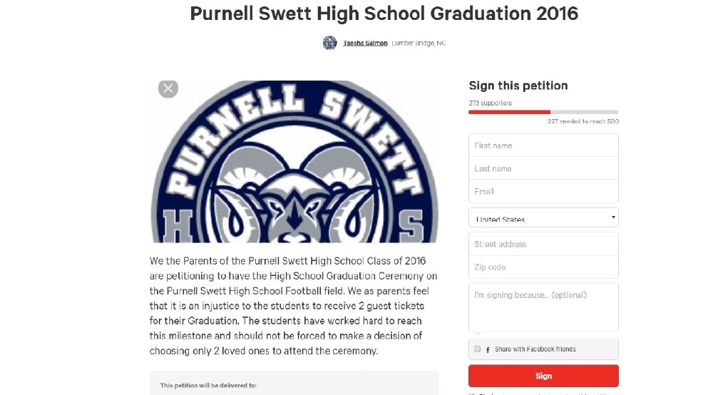 Robeson County parents upset over number of tickets for high school  graduation