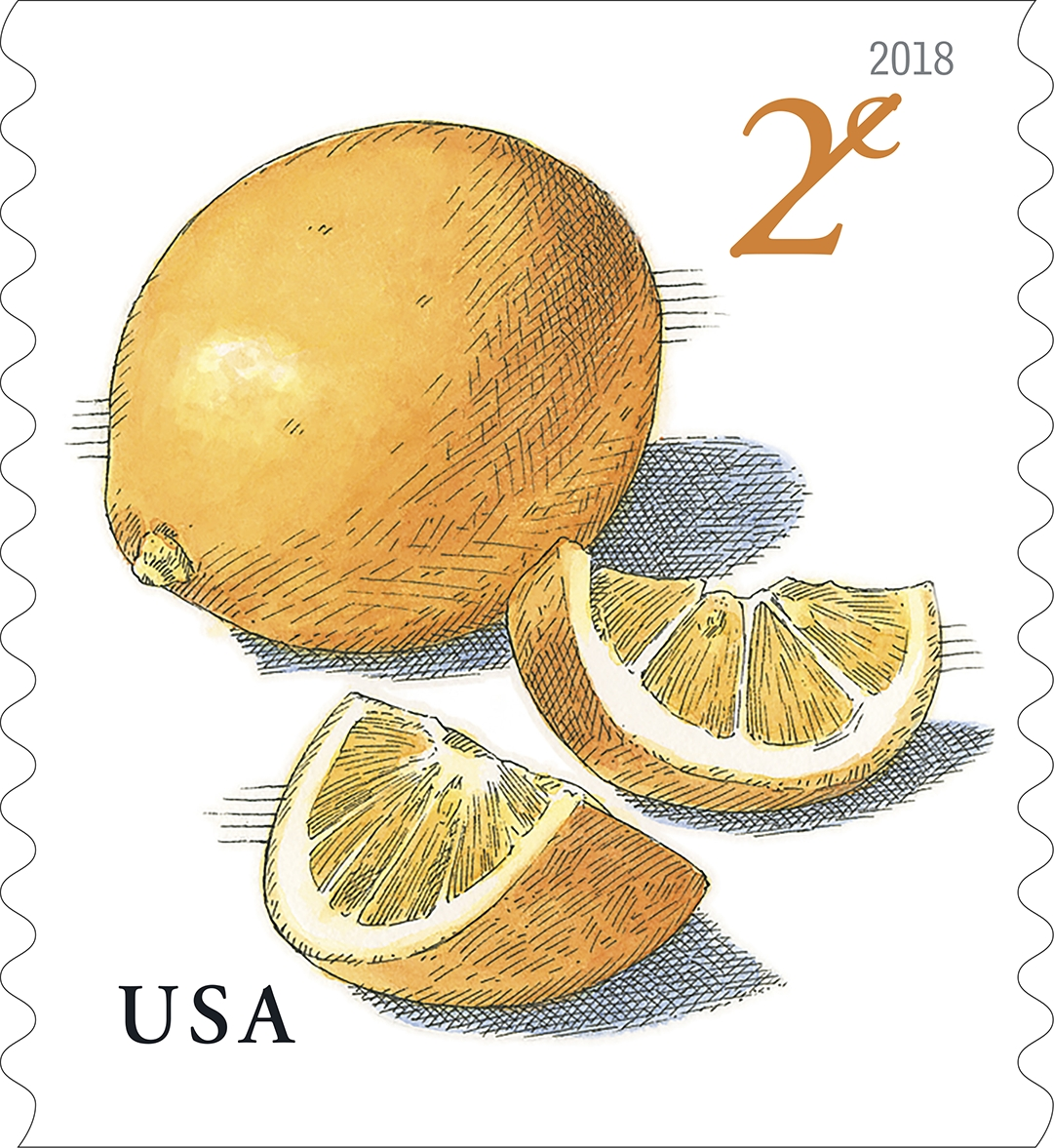 Meyer Lemons: Meyer Lemons is a 2-cent definitive stamp. The stamp art features a whole Meyer lemon next to two wedges of the cut fruit. (USPS)