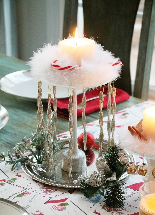 Add some dazzle to your dining room table with a cheap and chic Christmas Centerpiece. (Image: Debbie Manno/Debbie Doo's) Link: http://www.debbie-debbiedoos.com/2015/12/dollar-tree-christmas-centerpiece-idea.html