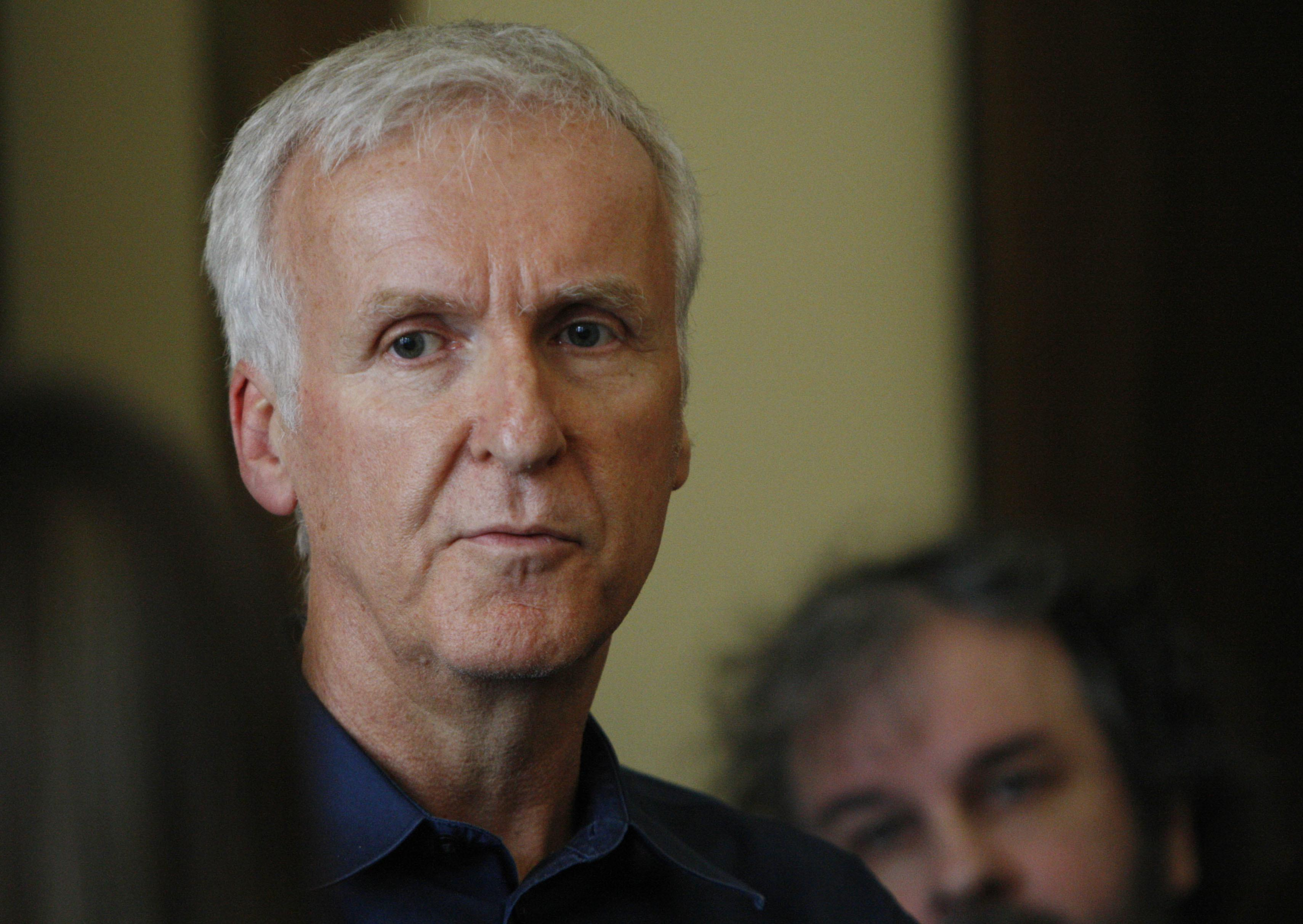 "FILE - In this Jan. 14, 2015, file photo, movie director James Cameron talks to reporters at an event to promote the New Zealand film industry in Wellington, New Zealand. Cameron told Britain's The Guardian newspaper for an article published online on Aug. 24, 2017, that Hollywood's praise of Patty Jenkins' film ""Wonder Woman"" is ""misguided"" because the character is ""an objectified icon."" (AP Photo/Nick Perry, File)"