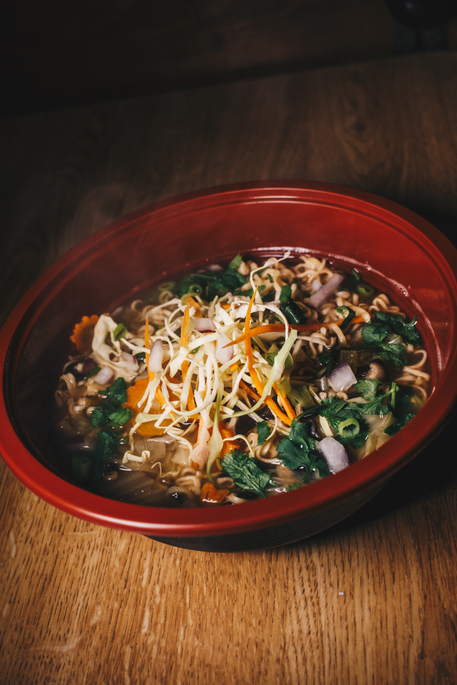 Palay Mi: vegetable ramen with cabbage, carrots, celery, shitake and string mushrooms, cilantro, and lime / Image: Catherine Viox // Published: 2.24.19