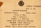 This undated photo provided by Lion Heart Autographs shows the Titanic?s last lunch menu, which is going to auction and is estimated to bring $50,000 to $70,000. The menu - saved by a passenger who climbed aboard the so-called ?Money Boat? before the ocean liner went down - will be sold by Lion Heart Autographs, an online New York auctioneer, along with two other previously unknown artifacts from Lifeboat 1 on Sept. 30, 2015. The auction marks the 30th anniversary of the wreckage?s discovery at the bottom of the Atlantic Ocean. (Lion Heart Autographs via AP)