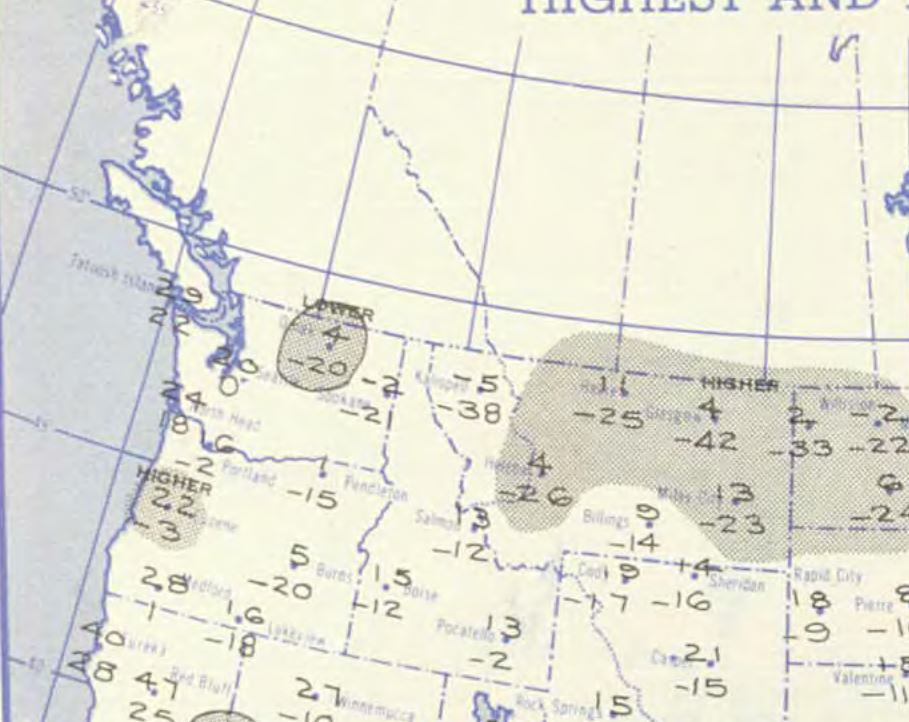 National Weather Bureau Maps showing the weather pattern on Jan. 31, 1950<p></p>