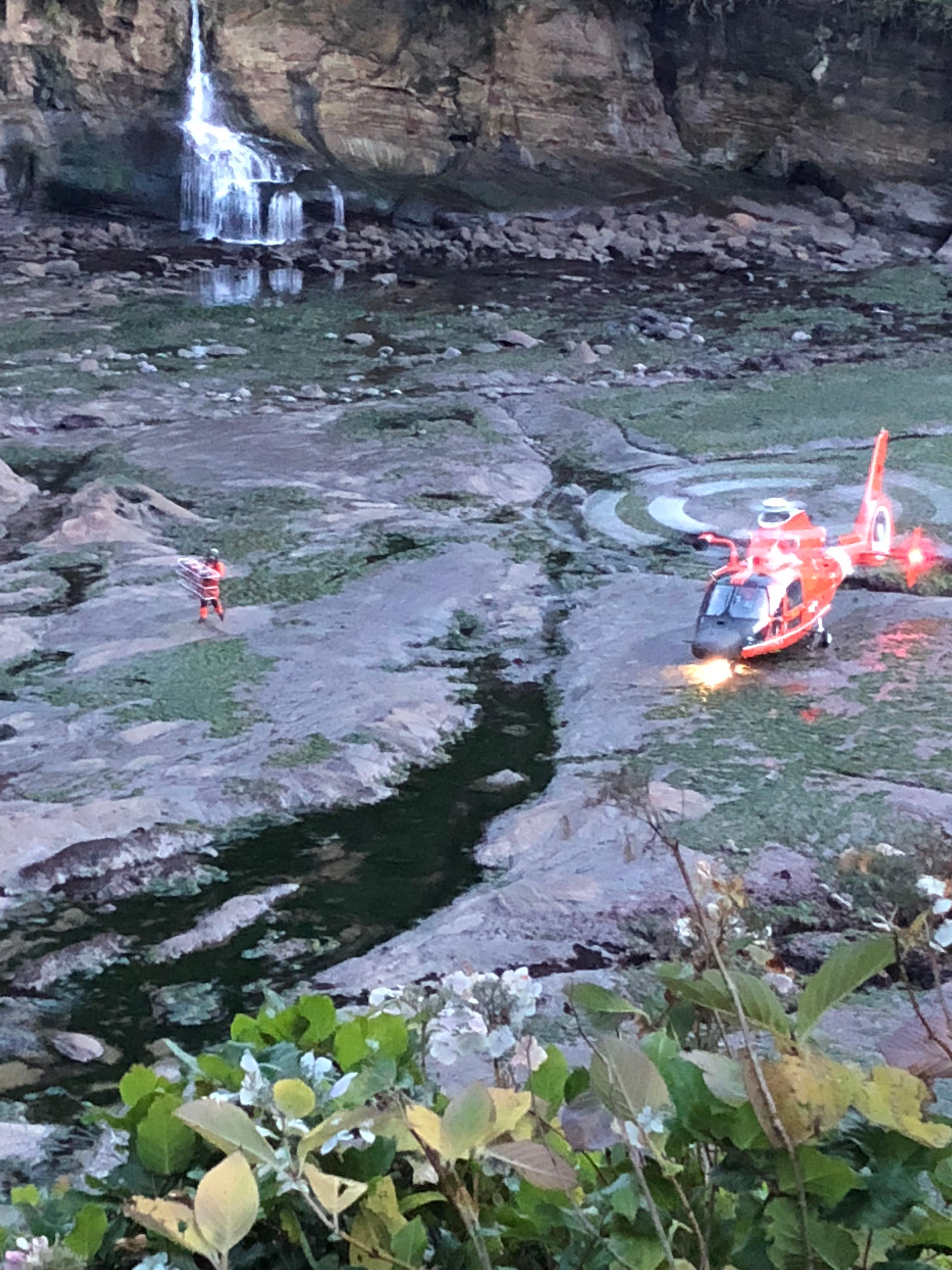 Firefighters called in a U.S. Coast Guard helicopter at Big Whale Cove near Depoe Bay, Oregon on Tuesday, Jan. 2, 2018 to help rescue a man suffering from a medical issue. (Photo: Depoe Bay Fire District)