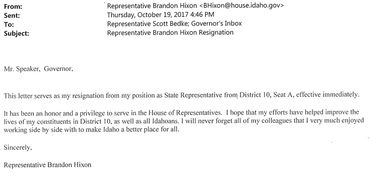 Rep. Brandon Hixon's letter of resignation sent to the the governor.{&amp;nbsp;}<p></p>
