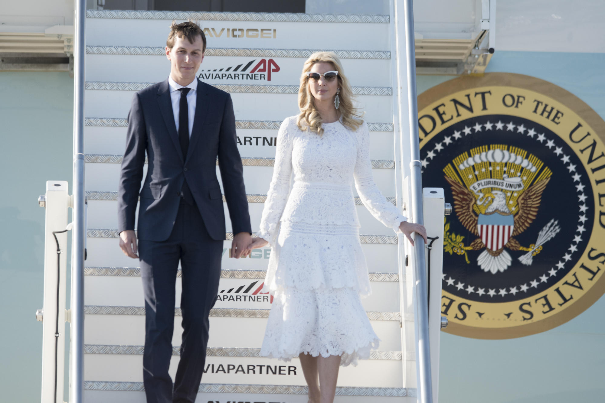 Jared Kushner and Ivanka Trump tagged along (with Melania) on President Trump's first official visit to Italy. (Image: KIKA/WENN.com)