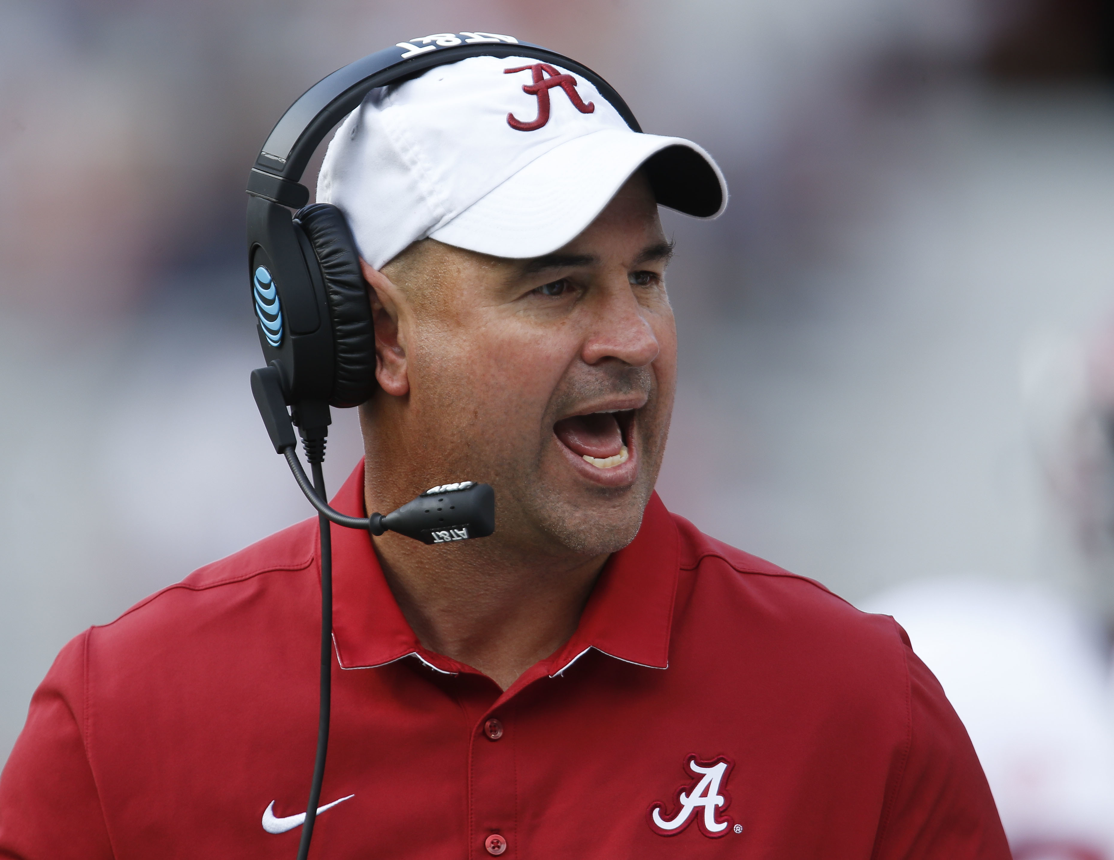 FILE - In this April 22, 2017, file photo, Alabama defensive coordinator Jeremy Pruitt, coach of the White team, yells to his team during Alabama's annual A-Day spring NCAA college football game in Tuscaloosa, Ala. Tennessee has hired Pruitt as its head coach on Thursday, Dec. 7, 2017, capping a tumultuous search that cost an athletic director his job as the Volunteers attempt to recover from one of their most disappointing seasons.(Gary Cosby Jr./The Tuscaloosa News via AP, File)