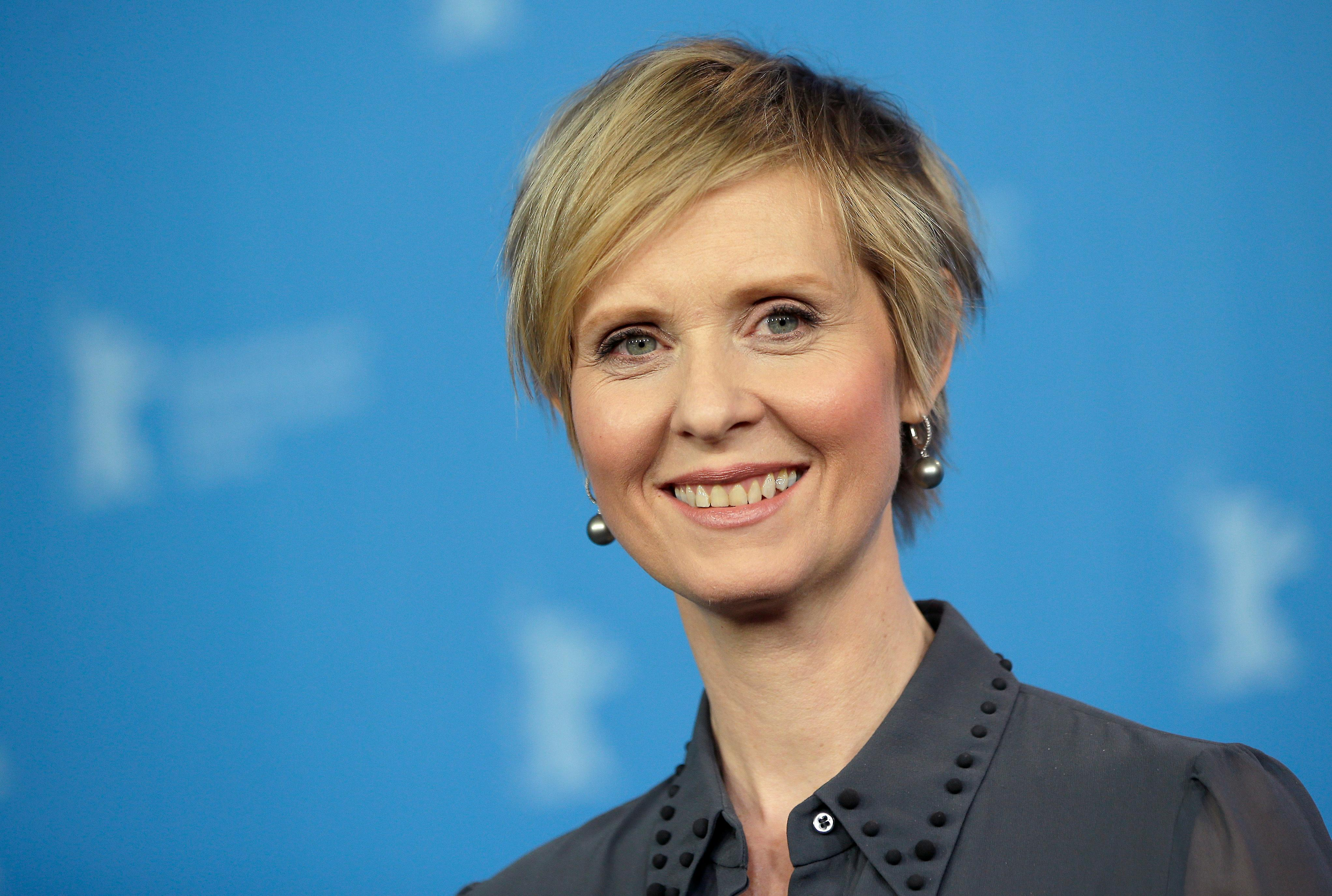 FILE - In this Sunday, Feb. 14, 2016 file photo, Actress Cynthia Nixon poses for the photographers during a photo call for the film 'A Quiet Passion' at the 2016 Berlinale Film Festival in Berlin, Germany,  Cynthia Nixon's name is being mentioned as a possible candidate for governor in New York, Friday, Aug. 4, 2017. (AP Photo/Michael Sohn, File)