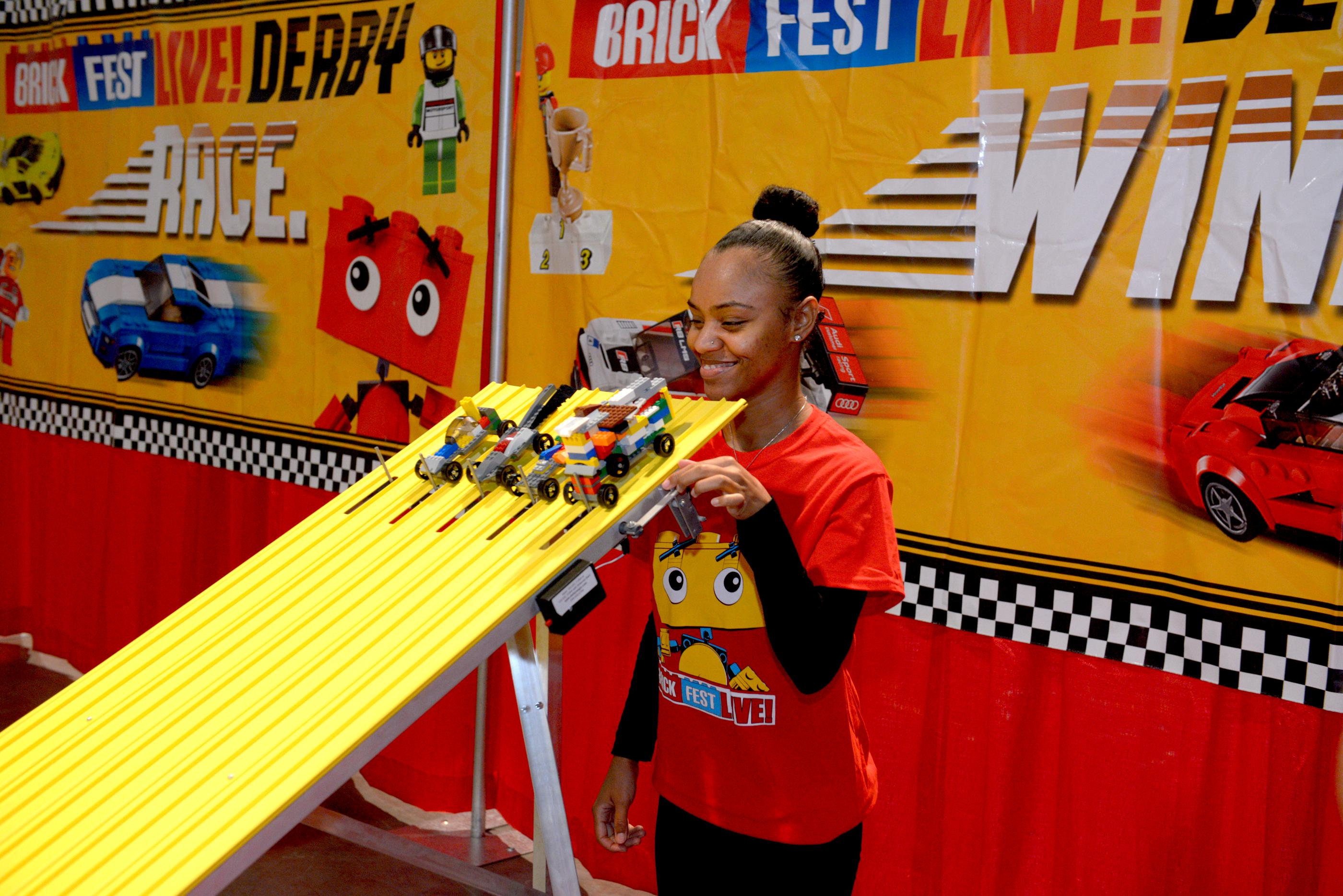 Lego cars customized by fans get ready to race at the Lego Speedway during the Brick Fest Live Lego Fan Experience at the Las Vegas Convention Center, September 9, 2017. [Glenn Pinkerton/Las Vegas News Bureau]